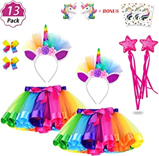 Daisyformals Unicorn Rainbow Tutu Skirt Set (11 Pack) with Unicorn Headbands, Unicorn Hairbows and Unicorn Balloons + Free Unicorn Tattoos Perfect for Girls Unicorn Party Favors(3-8 Years)