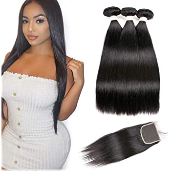 Beauhair Brazilian Straight Virgin Hair 3 Bundles With Closure Free Part (14 16 18 with 14inch), Grade 7A 100% Unprocessed Remy Human Hair Extensions, Hair Weft Weave With Lace Closure, Natural Color