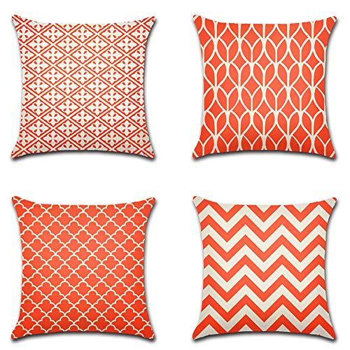 Artscope Moderne Geometrische Kissenbezug, 4er Set Dekokissen Kissenhülle Kissen Fall für Sofa Auto Schlafzimmer 45x45cm Orange