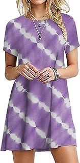 OMZIN - Vestido de mujer de manga corta, informal, de corte redondo, en tallas grandes, de 2XS a 5XL Yh-violeta. XL