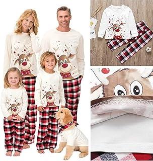 AAZZYUN Familia Pijamas Juego El Sistema, Los Impresión De Los Ciervos Manga Larga A Cuadros Pijamas Christmas Matching Pijamas, Pijamas Set Tela Escocesa De La Familia (Size : Children's Wear-10T)