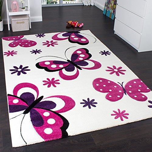 Paco Home Alfombra Infantil - Diseño De Mariposas Crema Rosa Lila, tamaño:80x150 cm