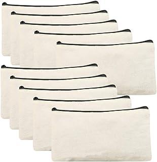 Gobesty Segeltuch Kosmetiktasche, 10 Stück DIY Blanko Stoff-Federmäppchen Schminktasche Klein Mäppchen Bunte Makeup Tasche mit Reißverschluss für Kinder zum DIY Bemalen, Dekorieren, 21 x 12 cm