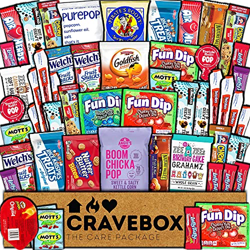 CraveBox Care Package (50 Count) Snacks Food Cookies Granola Bar Chips Candy Ultimate Variety Gift Box Pack Assortment Basket Bundle Mix Bulk Sampler Treats College Students Office Staff Back School