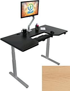 Lander Electric Adjustable Height Sit Stand Desk with SteadyType Keyboard Tray (Right Position), Silver Base (Light Maple Top, 30