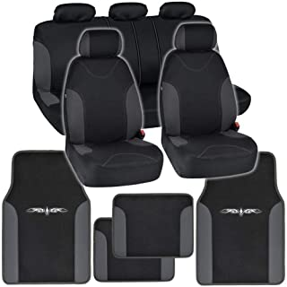 BDKInstaSeat Car Seat Covers & Floor Mats (Black & Charcoal Trim) NeoCloth & Carpet w/ Vinyl Trim