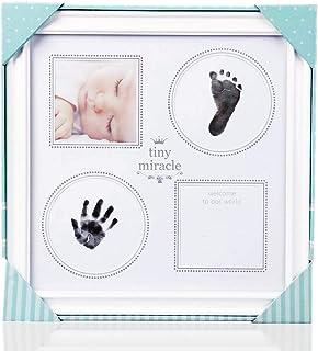 ベビーフレーム ベビー記念品 手形 足形 フォトフレーム 出産祝い 成長記録 置き掛け兼用 安全無毒素材 手足型写真立て