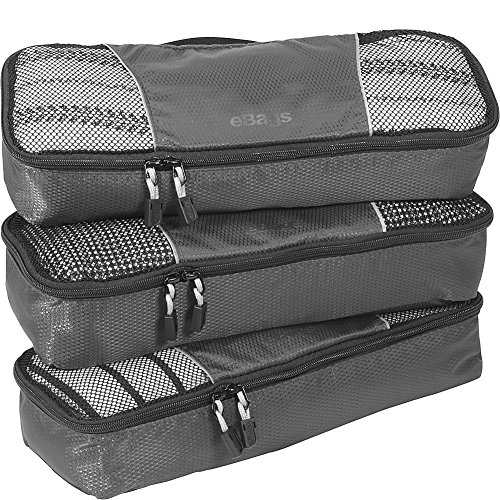 eBags Slim Classic Packing Cubes for Travel - Organizers - 3pc Set - (Titanium)
