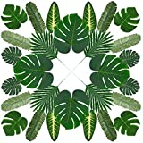Benvo Artificial Palm Leaves 60 Pcs 7 Kinds Tropical Plant Faux Leaf Fake...