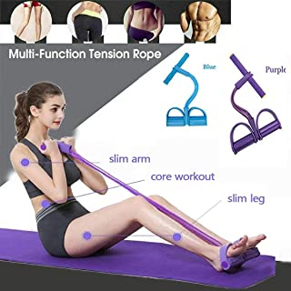 4 Tubes Pedal Resistance Band for Abdomen, Waist, Arm, Yoga Fitness Sit-up Pull Rope Bodybuilding Tension Rope, Slimming Exerciser/Multi-Function