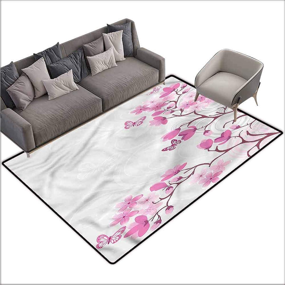 Designed Kitchen Bathroom Floor Mat Colorful Japanese,Pink Blossoms Butterflies 80