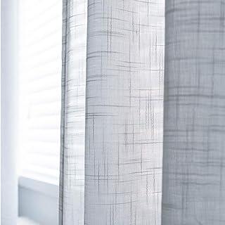 HM&DX Lino Voile Cortinas Gancho Superior Color Puro Cortinas Paneles Decoración Cortinas De Tul Sala Habitaciones-Gris 200x270cm(79x106inch)