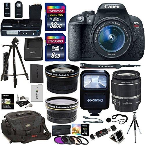 Ritz Camera Canon EOS Rebel T5i DSLR Camera Body Bundle, EF-S 18-55mm is STM Lens, Transcend 32GB, 8GB Memory Cards, Polaroid LCD Grip, Polaroid Tripods, Filter Kit, Canon Rebel Gadget Bag, Flash