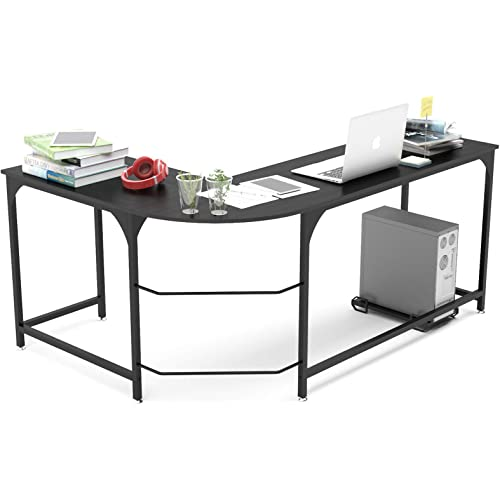 Amazon Com Teraves Reversible L Shaped Desk Corner Gaming Computer Desk Office Workstation Modern Home Study Writing Wooden Table Kitchen Dining