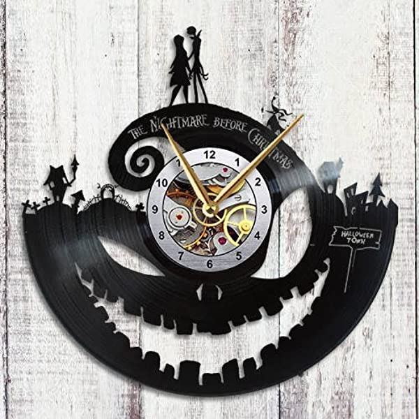 Choma Nightmare Before Christmas Wall Clock Jack Skellington Sally Zero Oogie Boogie Halloween Town Vinyl Record