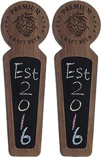 Fanfoobi Set of 2 Wooden keg tap handle chalkboard, Laser engraved Premium Craft Beer with Pine nuts logo, Double tap handle for kegerator, 8.3