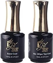 iGel Impeccable Soak Off Gel Polish Base Coat + No-Wipe Top Coat Kit Set (15mL - 0.5 fl oz per bottle)