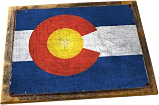Framed Colorado State Flag Metal Sign, Americana, Rustic Décor