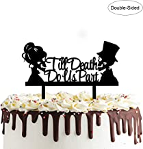 Till Death Do Us Part Cake Topper- Acrylic Mr and Mrs Skull Wedding Cake Topper Halloween Party Decorations Day of the Dead Sign