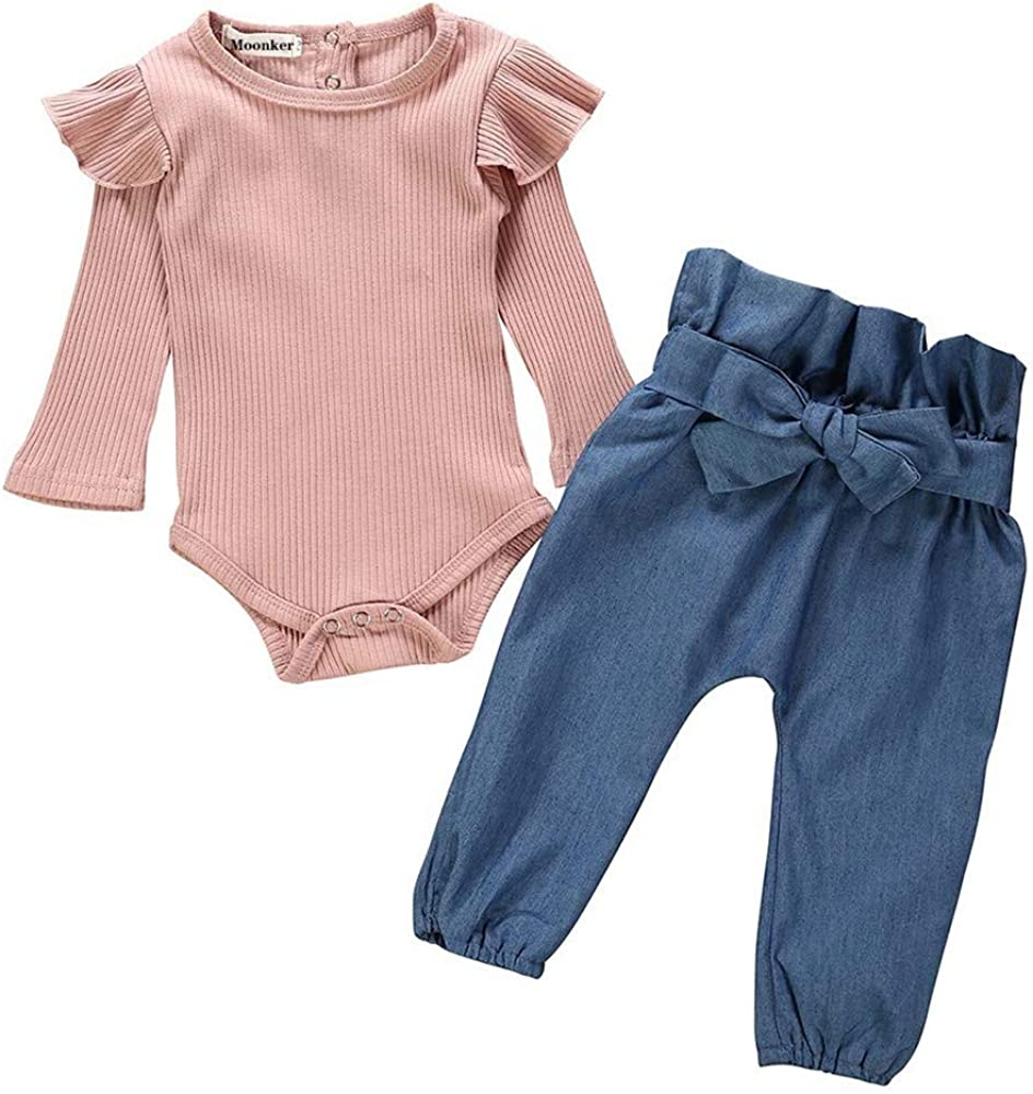 Toddler Baby Girls Autumn Outfits Clothes for 5-5 Months Long Sleeve  Romper Bodysuit+Denim Pants Jeans Set