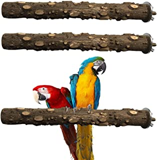 PIVBY Bird Perch Nature Wood Prickly Parrot Stand Toy Branch Platform Paw Grinding Stick for Small Medium Birds Cockatiel Parakeet Conure Cage Accessory Pack of 3
