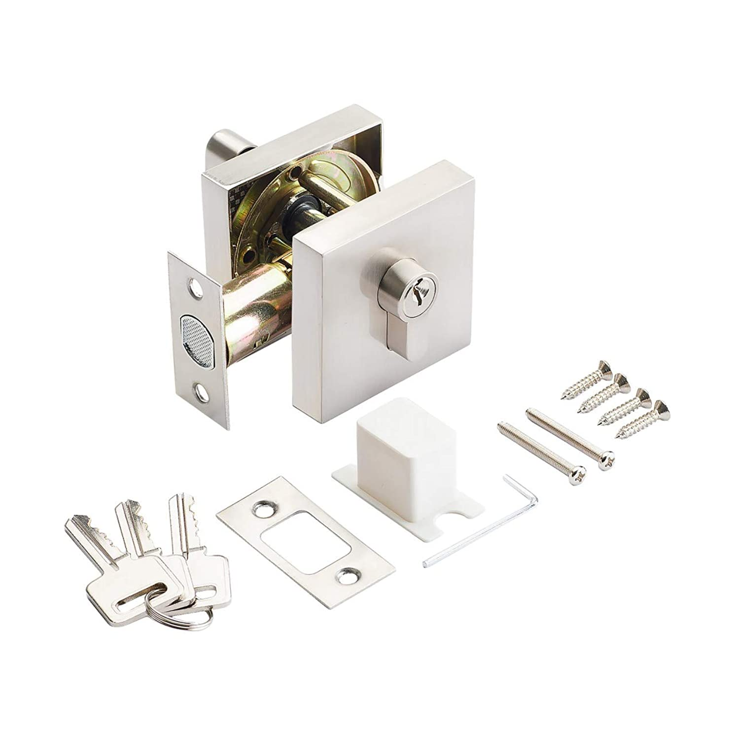 AVALON 0891 – Deadbolt (Square Rosette) in Satin Nickel Finish