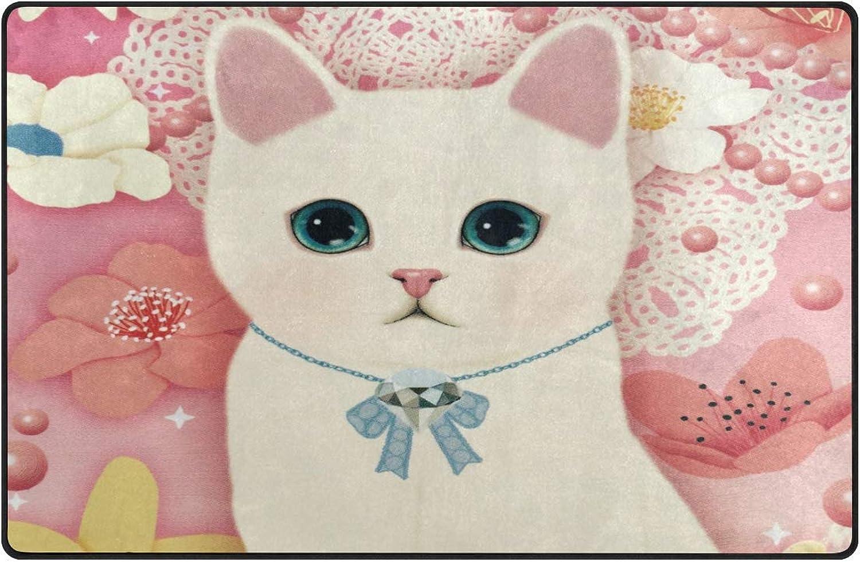 Anna Cowper Drawn Kittens Cat Area Rug Non-Slip Indoor Doormats Floor Mat Dining Room Home Bedroom Hallway Carpet Decorative 60 x 39 inch