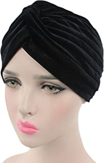 Pleated Stretch Ruffle Women's Velvet Chemo Turban Hat Wrap Cover