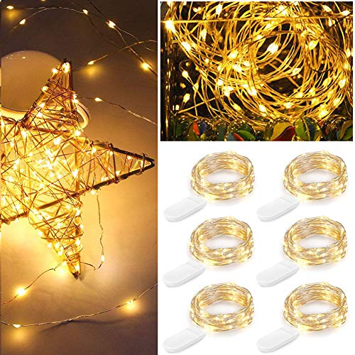 6 Pack LED Fairy String Lights Battery Operated, 6.9ft 20 LEDs Waterproof Silvery Copper Wire Lights, Flexible Firefly Starry Christmas Lights for Bedroom Wedding Party Mason Jar (Warm White)