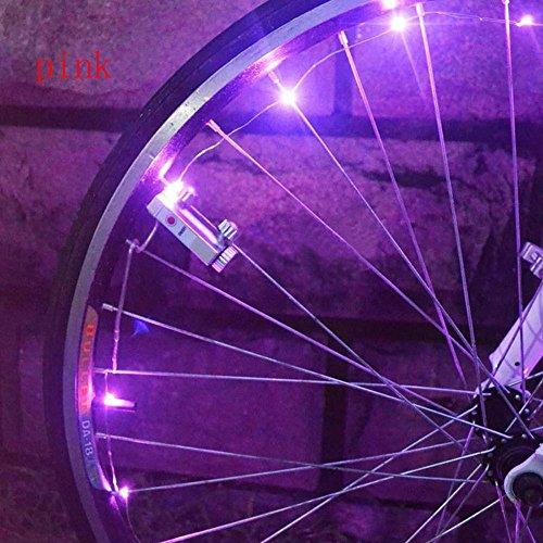 TriLance 1PC Radlichter LED Fahrrad Speichenlicht USB Wiederaufladbare Fahrrad Rad Licht Speichenreflektor 7 Farbe 18 Modi Wasserdicht für intelligentes Induktions, Zum Nachtreiten (Rosa)