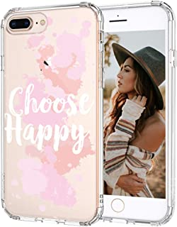 MOSNOVO iPhone 8 Plus Case, iPhone 7 Plus Case, Choose Happy Quotes Pattern Printed Clear Design Transparent Plastic Hard Back Case with TPU Bumper Case Cover for iPhone 7 Plus iPhone 8 Plus