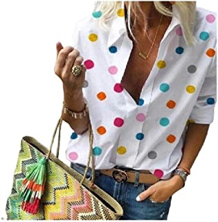 HEFASDM Women Polka Dots Long Sleeve Turn-down Collar Splicing Slouchy Blouse Shirt