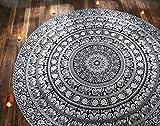 Tovaglia Rotonda Mandala - Motivo Elefante Bianco e Nero - Tessuto in Puro Cotone 122 cm 100% - Tappezzerie Rotonde e Teli Mare Per l'arredamento del Tavolo da Pranzo
