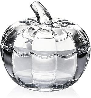Vintage Pumpkin Shaped Clear Crystal Glass Sugar Bowl Spice Jar with Lid Seasoning Box Condiment Pots 8.3 Ounces