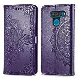 Bear Village Hülle für LG Q60 / LG K50, PU Lederhülle Handyhülle für LG Q60 / LG K50, Brieftasche Kratzfestes Magnet Handytasche mit Kartenfach, Violett