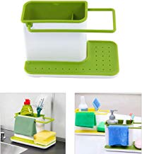 VelVeeta 3 In 1 Plastic Sink Caddy Organizer Kitchen Soap/Sponge/Cloth and Brush Holder Accessories (Medium, White and Green)