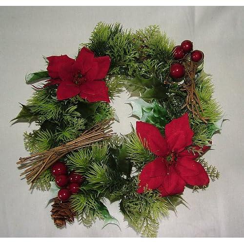 Ghirlanda natalizia artificiale, con stella di Natale e agrifoglio, per interni ed esterni, 25,4 cm Red
