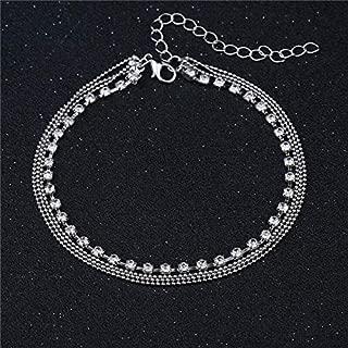 Silver Anklet Crystal Rhinestone Bead Chain Ankle Bracelet Foot Jewellery Tassel