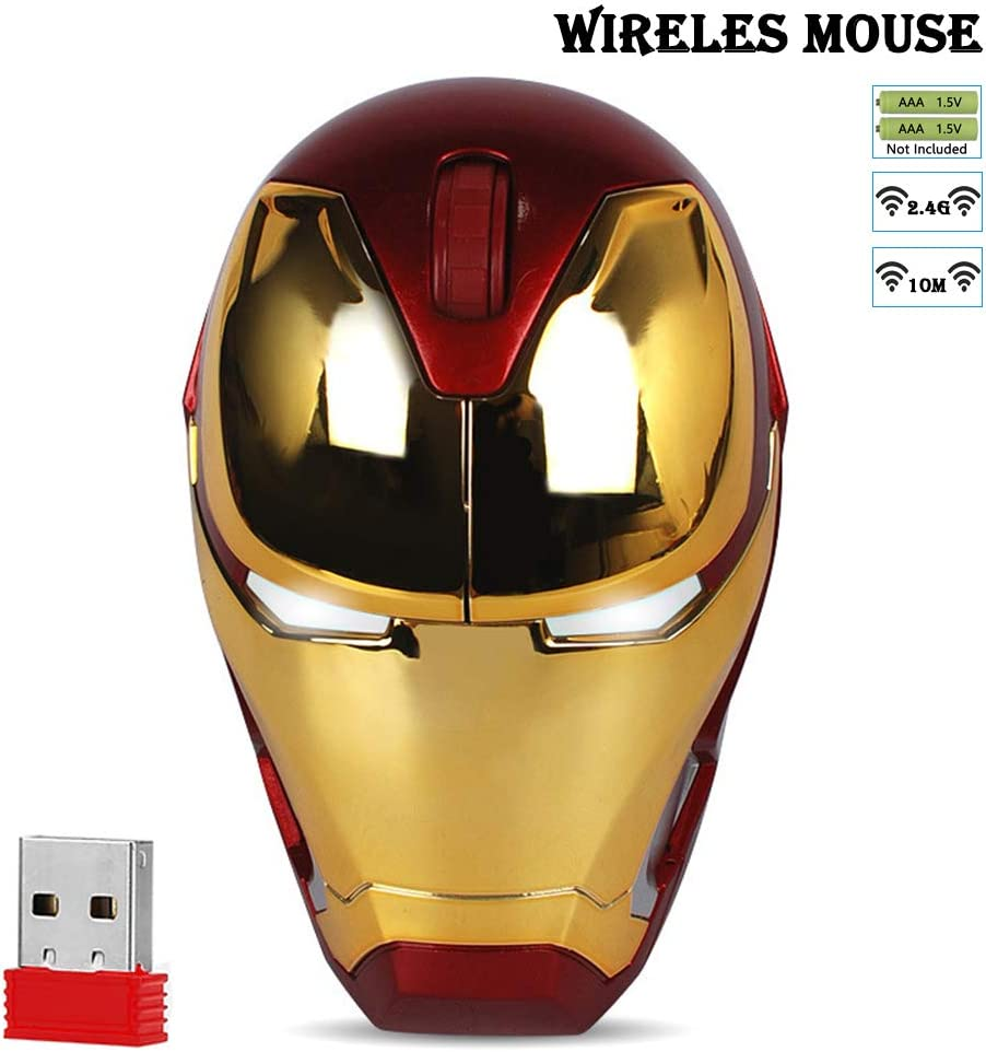 Cool Wireless Mouse Iron Man Black Panther Star Lord Ant Man Tree Man Gaming Mice with USB Unifying Receiver 1000/1200/1600 DPI for PC and Laptops (Iron Man 3)