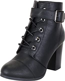 Cambridge Select Women's Lace-Up Strappy Buckle Stacked Chunky Heel Ankle Bootie