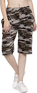 UZARUS Women's Girls Cotton Three Fourth Capri Shorts with Two Zippered Pockets