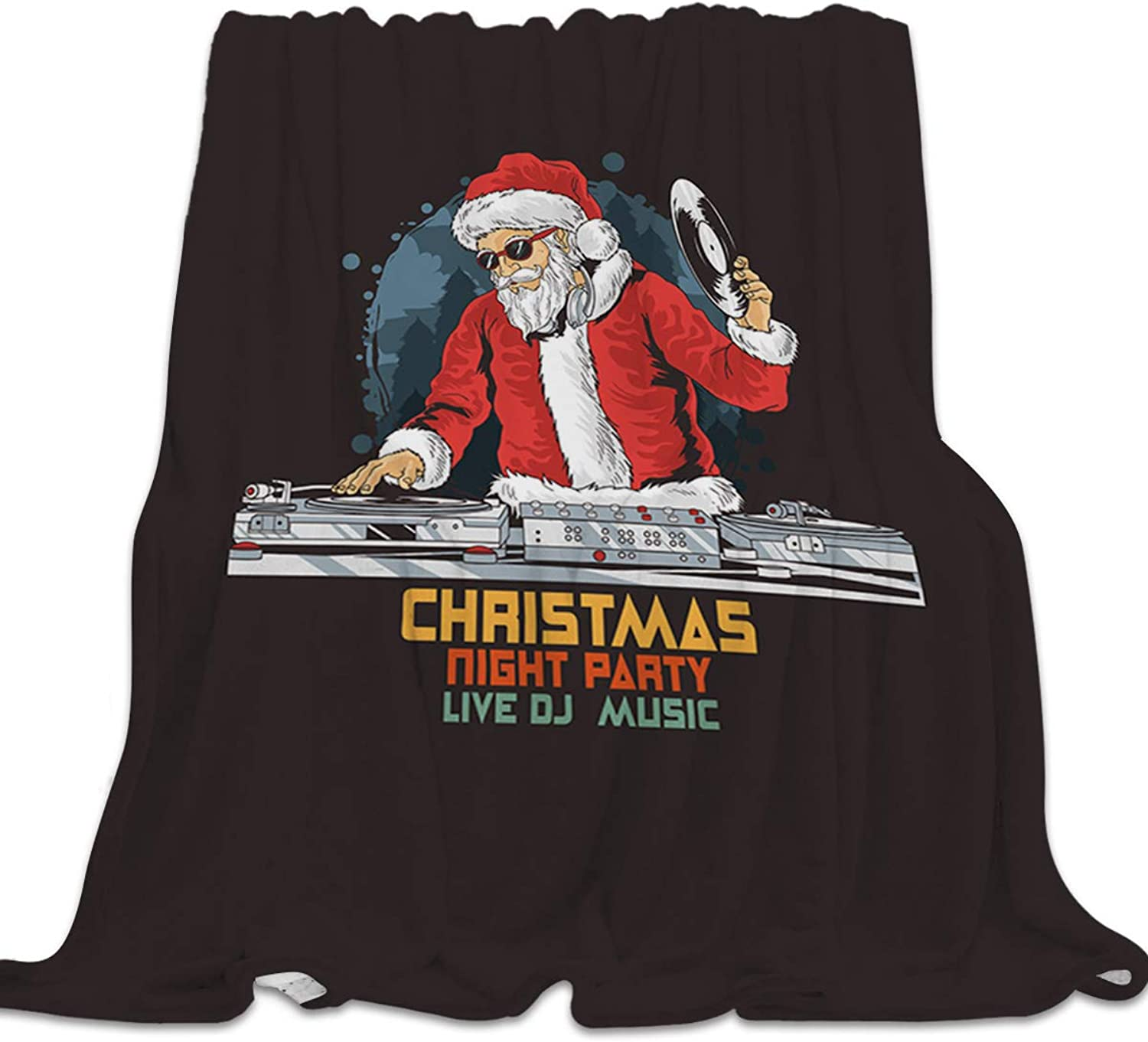 Clouday Flannel Fleece Bed Blanket Soft Throw-Blankets for Kids Girls Boys,DJ Santa Claus Merry Christmas,Lightweight Blankets for Bedroom Living Room Sofa Couch Home Decor,39x49Inch