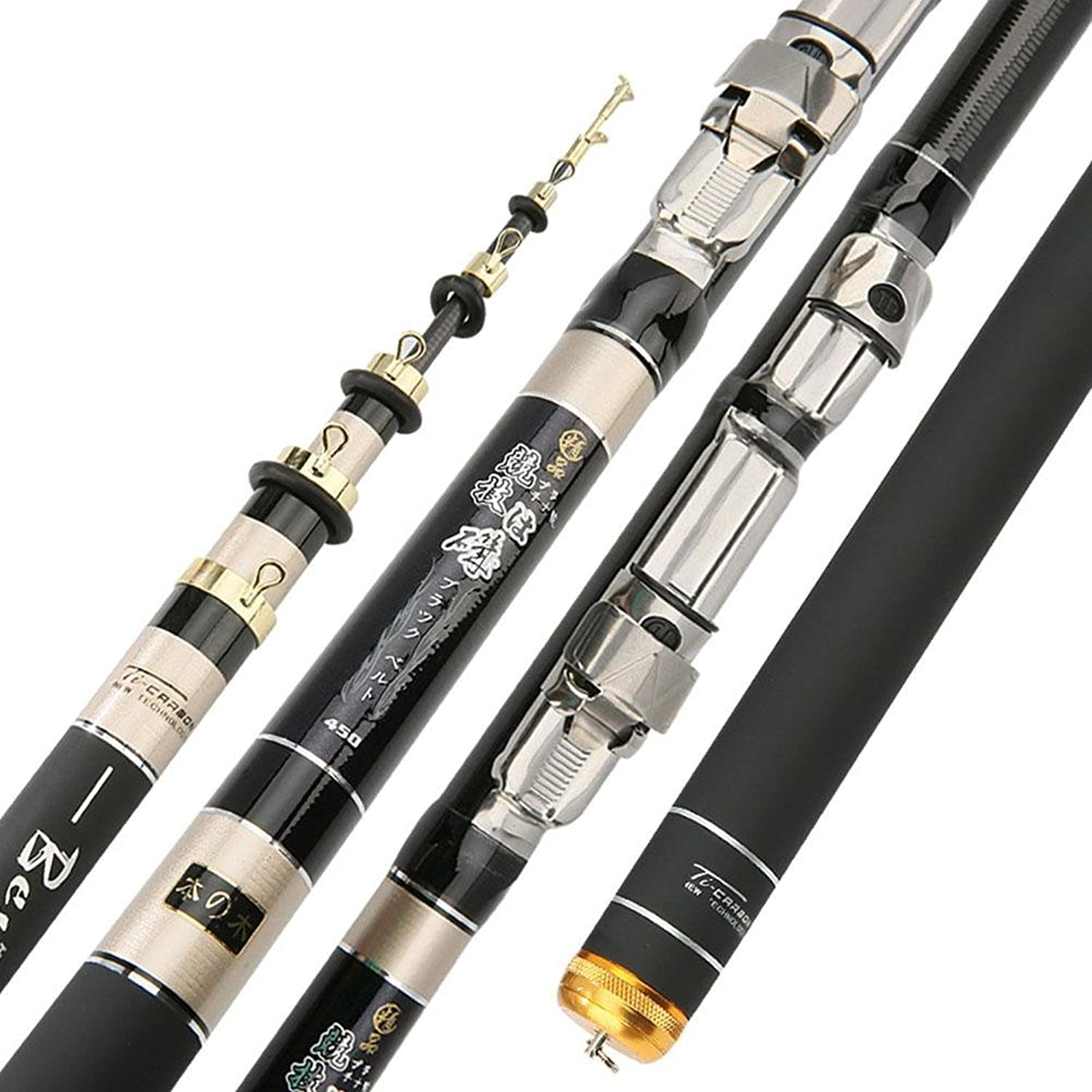 Spinning Telescopic Portable Fishing Rod Combos Travel Carbon Fishing Rod and Reel Set 3.6 4.5 5.4 6.3(m)