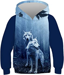 Boys&Girls' 3D Pullovers Novelty Animal Digital Printed Hoodies Kids Personalised Hooded Sweatshirts(Age 8-14)