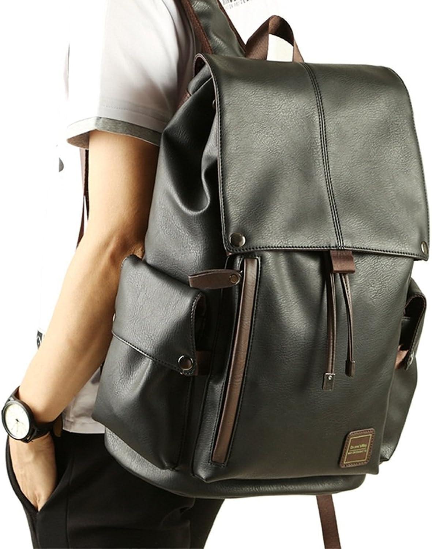 Shoulder Bag Male Travel Bag Fashion Men's Backpack Large Capacity PU Leather Bag Korean Student Bag (color   Black)
