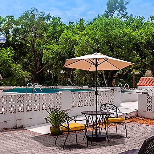 ZLI Paraguas de Jardín Sombrilla para Patio/Terraza/Piscina 6.5 Pies, Sombrilla Redonda para Mesa de Mercado con Manivela, Sombrilla de Acero de 2m (Sin Incluir La Base) (Color : Beige)