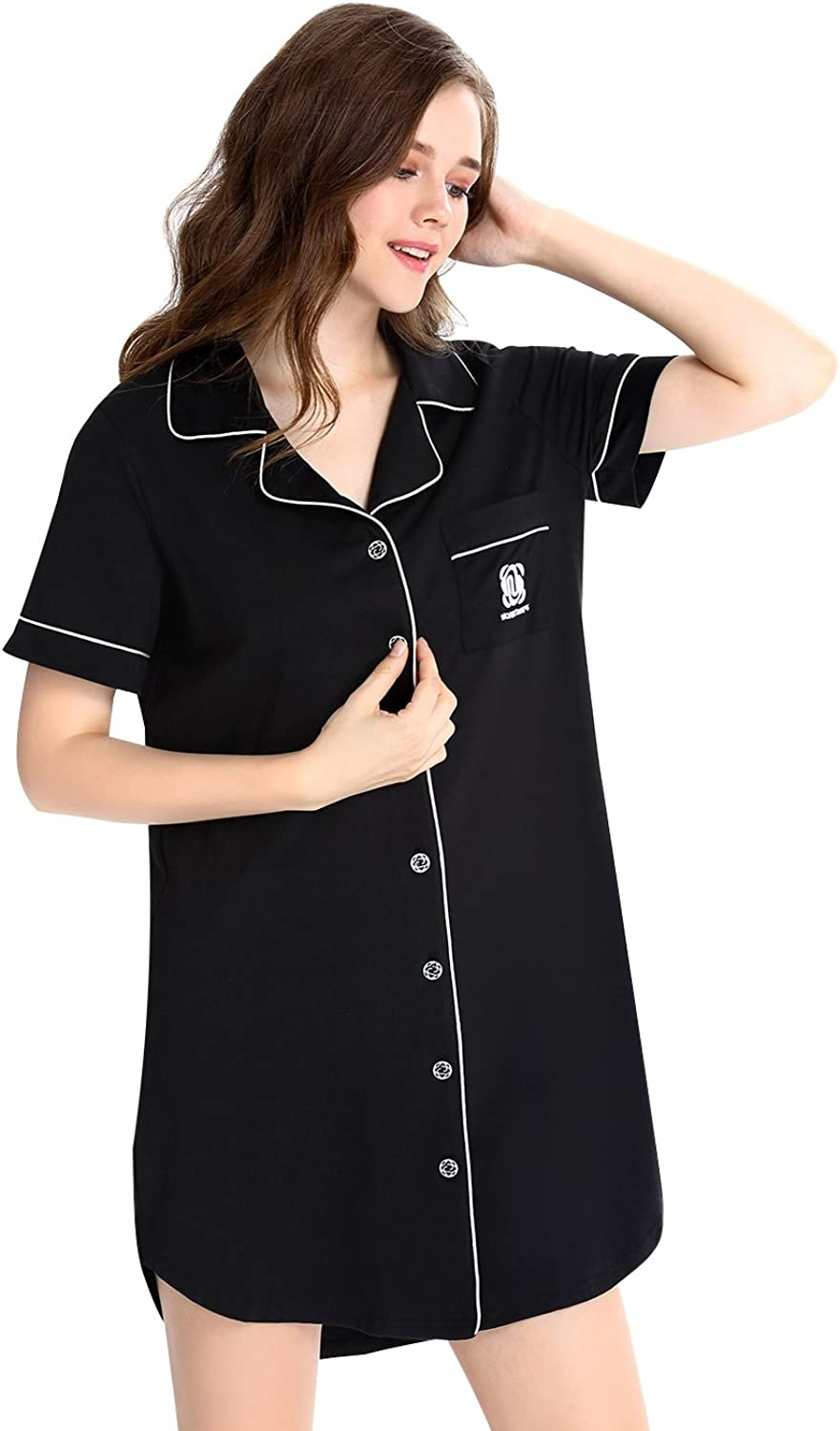 N NORA TWIPS Womens Sleep Shirt Sleepwear Short Sleeve ButtonFront Nightshirts (Black,L)