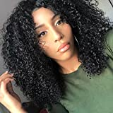 Chantiche Soft Curly 360 Lace Frontal Wig with Baby Hair and High Ponytail Brazilian Virgin Human Hair Customized 360 Lace Full Wigs with 150% Heavy Density for Women 22inches Natural Color