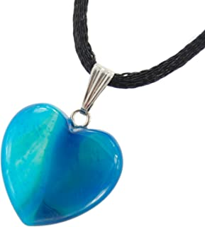 Steampunkers USA Big Heart Collection - 20mm Classic Agate Blue - 20-22 inch Black Cord – Crystal Gemstone Carved Necklace...