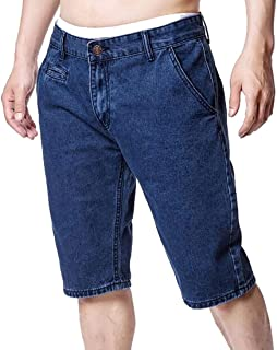 BU2H Mens Plus Size Summer Washed Stretch Denim Shorts Jeans